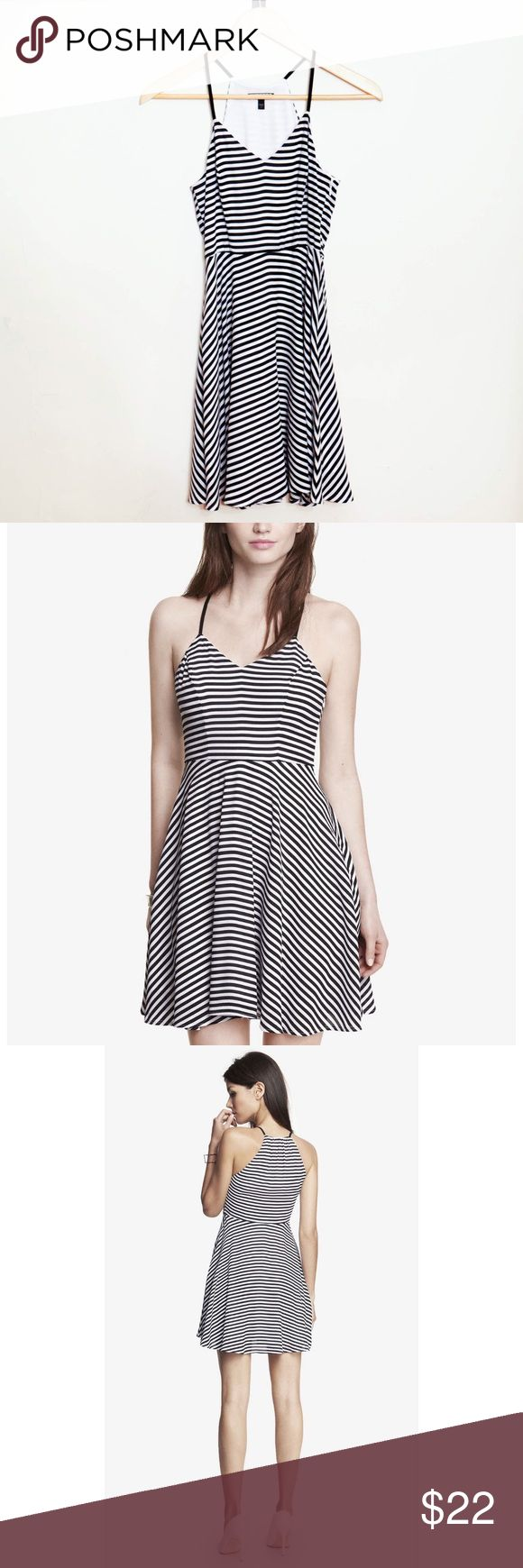 💓NEW LISTING💓 Express Striped Halter Slip Dress This gorgeous little dress is very flattering and comfortable. Great for any occasion--dress it up or down with the right jacket, heels and accessories! In great condition, very gently worn--no stains or tears. Express Dresses Midi