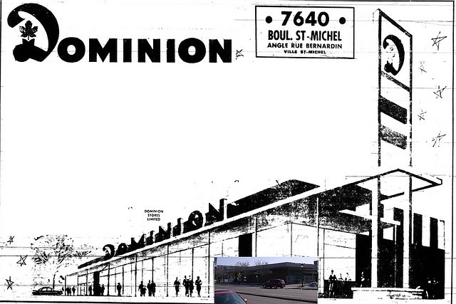 Dominion St-Michel Blvd & Villeray St, Montreal (St-Michel) 1960 by Grocerymania, via Flickr