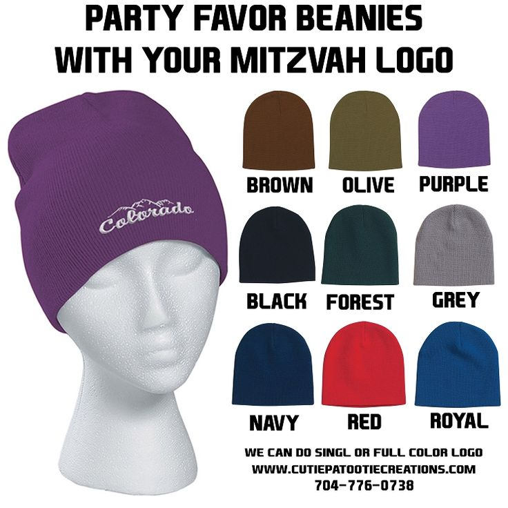 Knit Beanie with your Logo for Bar or Bat Mitzvah Party Favor