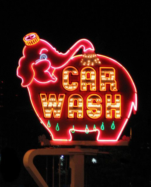 Pink Elephant Car Wash  http://www.flickr.com/photos/mcbadger/149372556/