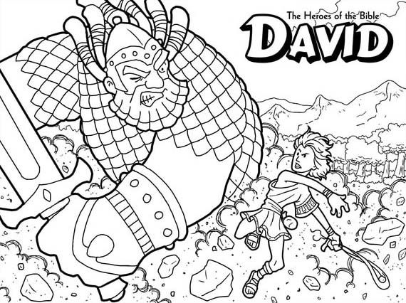 The Heroes Of The Bible David Versus Goliath Coloring Page