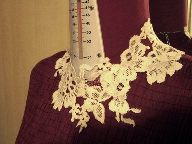 LACE NECKLACE. Bring a lace fabric. Cut out the flowers with different shapes. Then place all the flowers you made out of fabric on a manikin and sew them together to have your lace necklace.