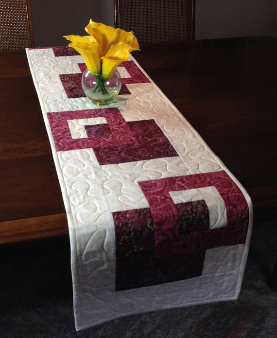 Quilted Cream and Wine Tablerunner Modern Batik Table Runner