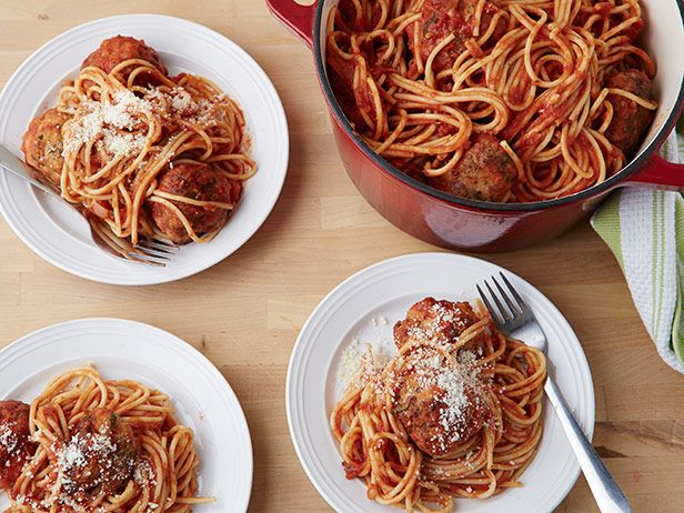 Spicy Turkey Meatballs and Spaghetti Recipe : Ina Garten : Food Network - FoodNetwork.com