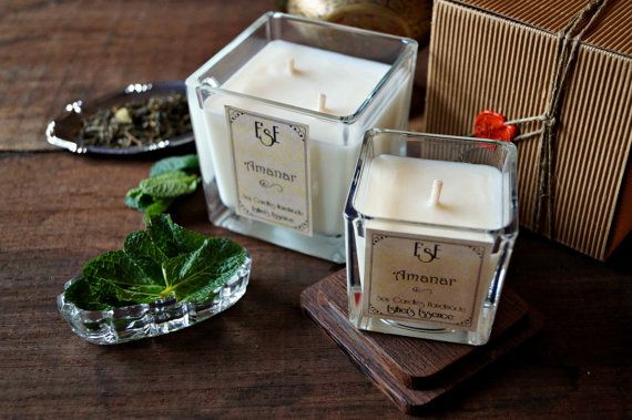 Candela di Soia Menta Tè verde Amanar Profumo fresco di EsECandles
