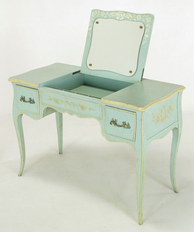 View This Item And Discover Similar Desks And Writing Tables For Sale At    John Widdicomb Robinu0027s Egg Blue U0026 Ivory Lacquered Antiqued Flip Top Vanity.