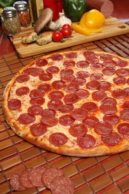 Brooklyn Pizza's Pepperoni Pizza - Fresh tomato sauce, beef pepperoni