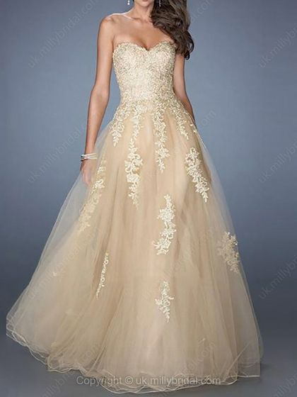 A-line Sweetheart Tulle Floor-length Appliques Prom Dresses -USD$173.41