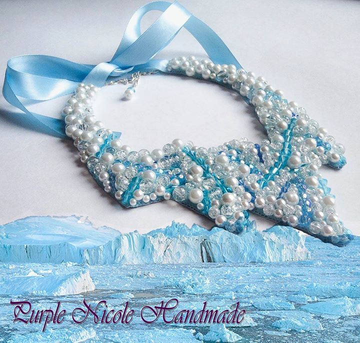 Freyja - Handmade Statement Necklace by Purple Nicole (Nicole Cea Mov). Materials: light blue glass beads, glass crystals, white glass pearls, satin ribbon, felt. Inspired by the scandinavian goddess Freyja.