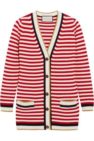 Gucci - Striped Stretch Cotton-blend Cardigan - Red - xx small