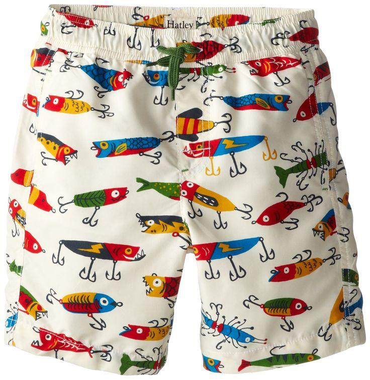 Hatley little boys 39 fishing lures swim trunks cream 5 for Fishing swim trunks
