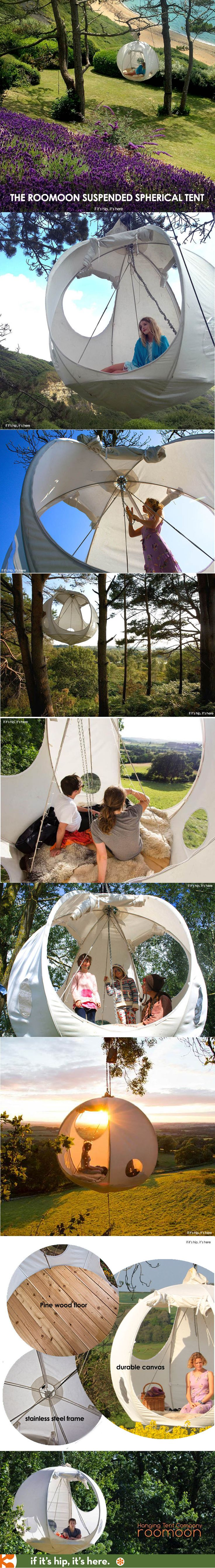 The Roomoon durable round canvas hanging tent with steel frame, pine wood floor and other options at if it's hip, it's here.