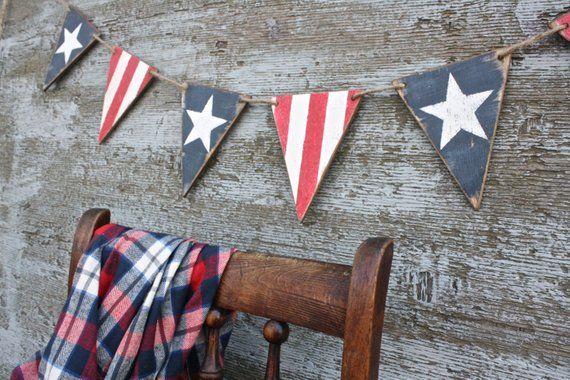 "Patriotic Burlap /""Celebrate America/"" Burlap Garland Pennant Primitive America"