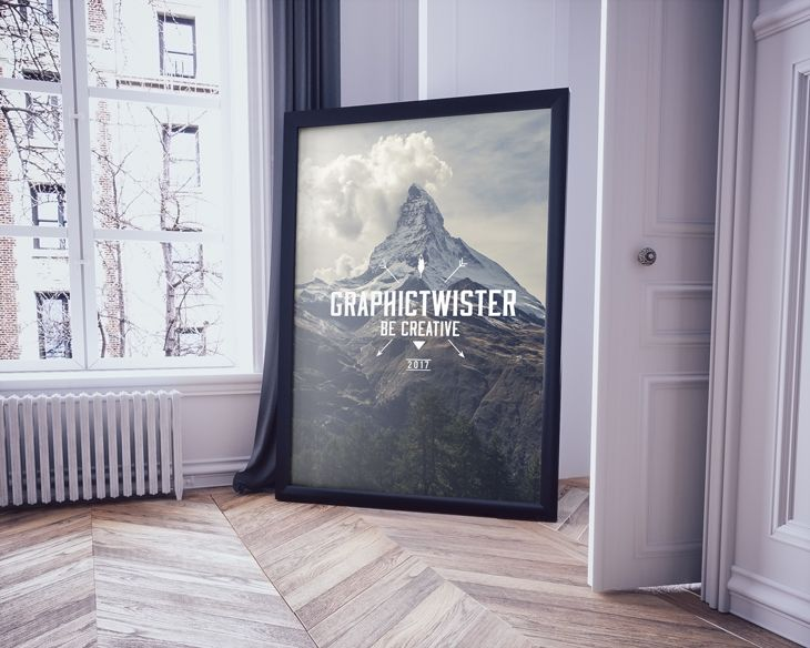 You Can Use The Mockup To Show Case Your Design Or Presentation On Big Frame Floor In Classic Interior
