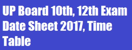 UP Board 10th, 12th Exam Date Sheet 2017, Time Table