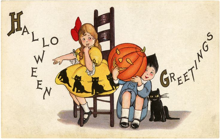 Today I'm sharing this Vintage Halloween Greeting with Children Post Card! In this cute image, a girl with long brown hair and a yellow dress peeks shyly at a little boy hiding behind a Jack-o-Lantern while a black cat smiles beside him. The boy has a gray Little Lord Fauntleroy suit on. Both wear black...Read More »