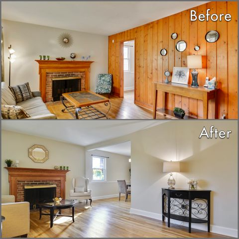 #homestaging before and after #livingroom. Paneling removal, dry wall addition, neutral paint and decluttering