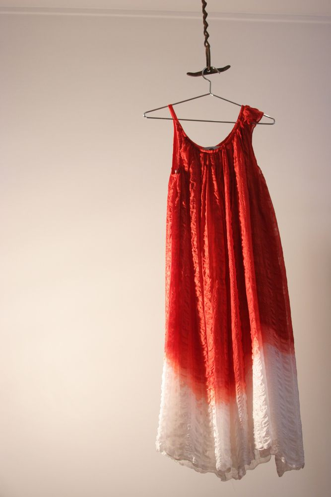 Robe en soie - Rouge et blanc - Tye & Dye