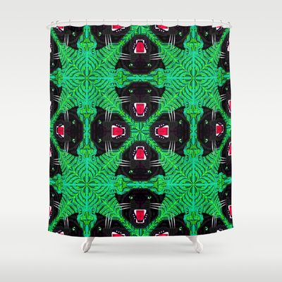 Tropical Gothic Pattern  Shower Curtain by chobopop - $68.00