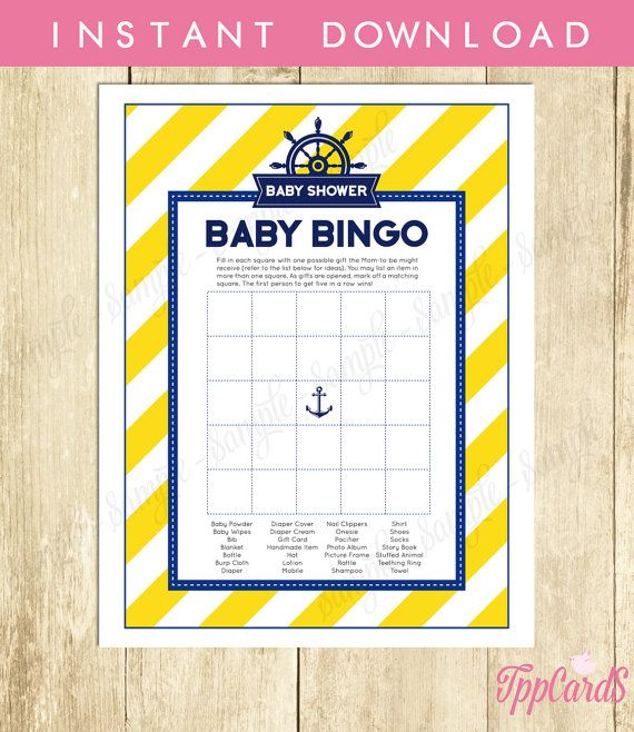 Instant Download Blue Yellow Nautical Baby Shower Bingo Cards Printable Sailor Theme Party Game Gender Neutral Yellow Blue Baby Bingo by TppCardS #tppcards