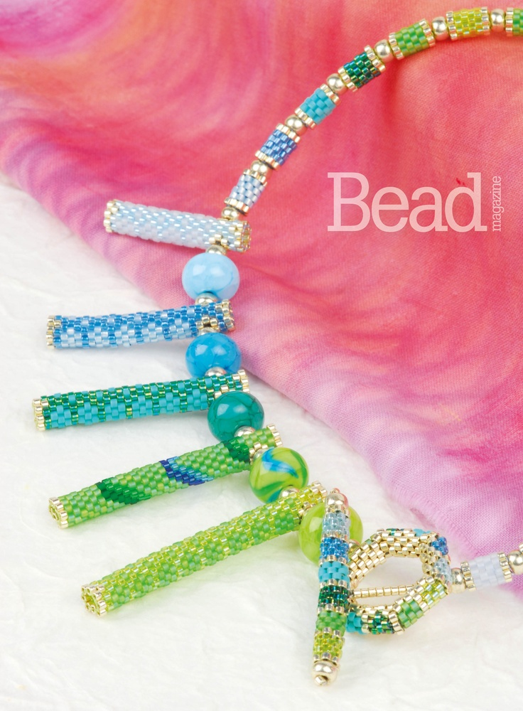 In A While Crocodile by Jennifer Airs - this stunning necklace featured in Issue 39 of Bead magazine.