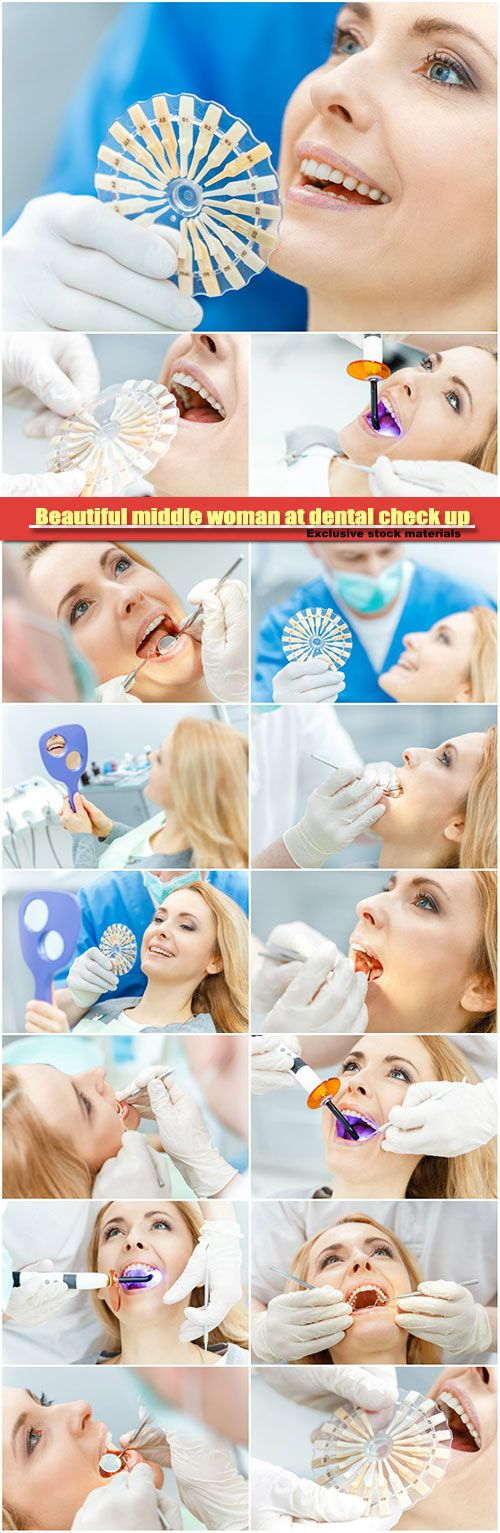 Beautiful middle woman at dental check up comparing teeth of patient with samples