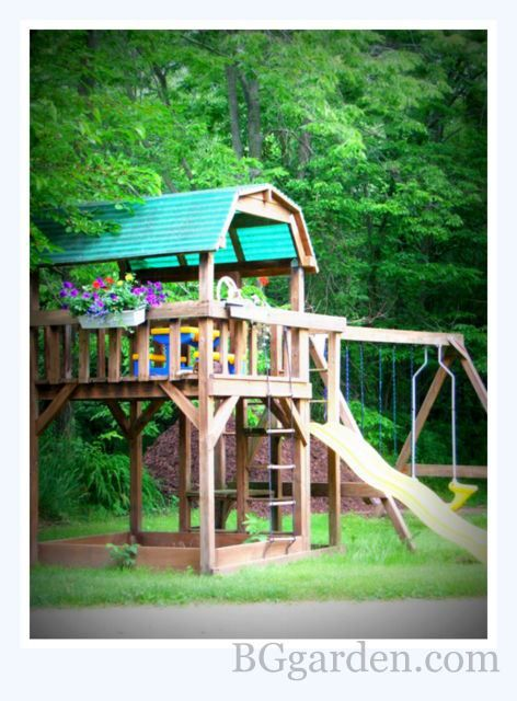 Swing Set With Flower Box