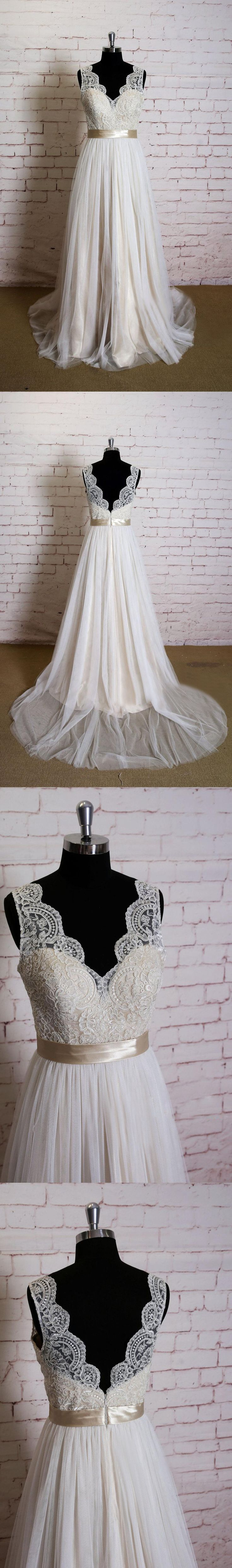 Lace Bodice Sleeveless Tulle Skirt A-Line Wedding Dress with Belt