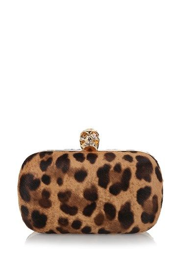 #Classic leather box #clutch by #AlexanderMcQueen featuring all over #leopard print with gold-tone harware trim and a #crystal embellished #skull shaped clasp fastening. Inside the #bag features a full #designer -stamped  http://bit.ly/1GuWjdX