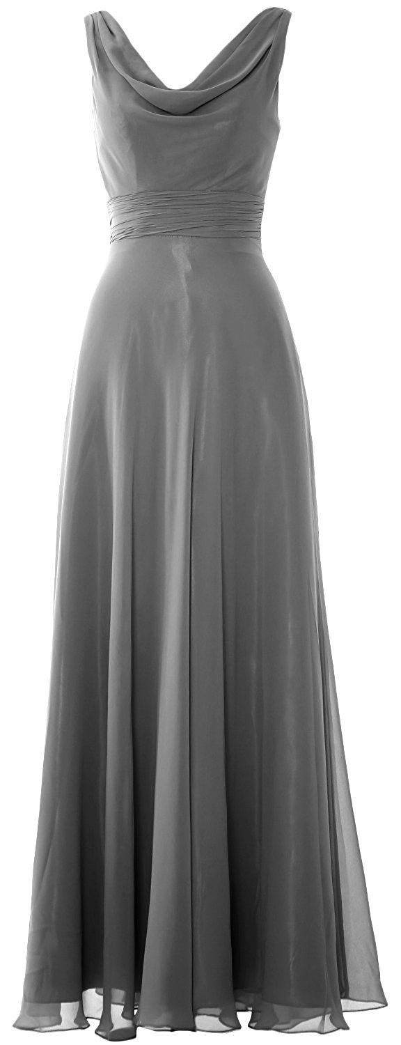 MACloth Women Cowl Neck Long Bridesmaid Dress Chiffon Wedding Party Formal Gown (UK6, Aqua): Amazon.co.uk: Clothing but in burgundy