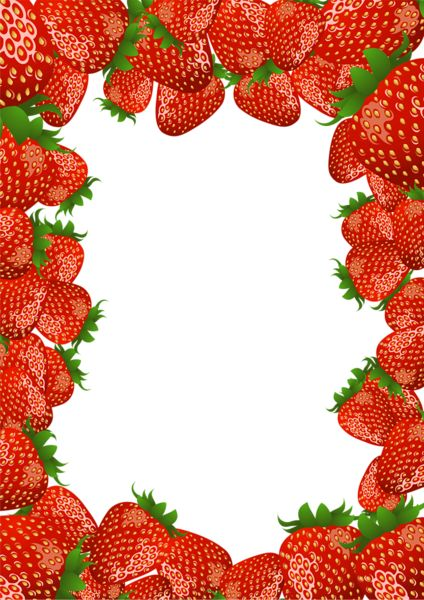 Transparent PNG Frame with Strawberries