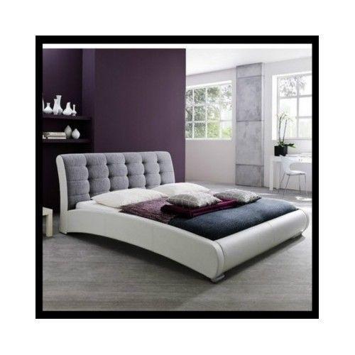 King-Size-Bed-Frame-Panel-Platform-Modern-Bedroom-Furniture-White-Leather-Queen