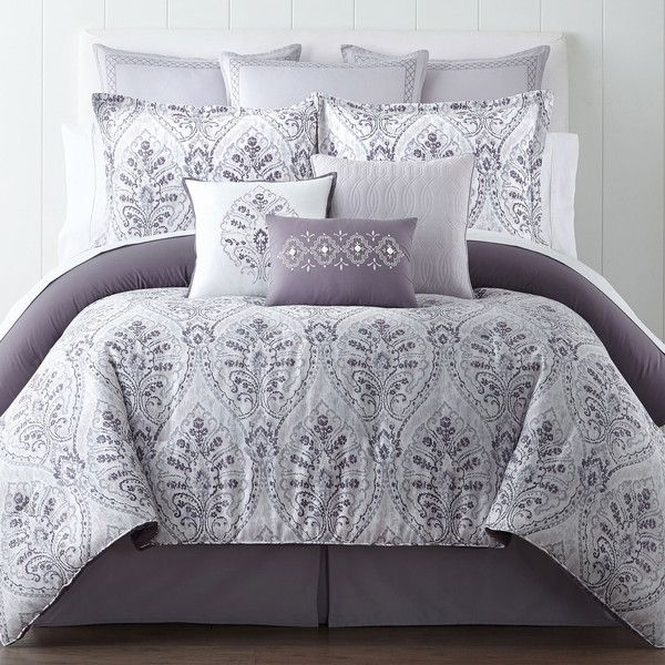 Eva Longoria Home Solana 4-pc. Comforter Set (225 CAD) ❤ liked on Polyvore featuring home, bed & bath, bedding, comforters, grey comforter, grey king size comforter, king comforter, gray comforter and grey queen comforter set