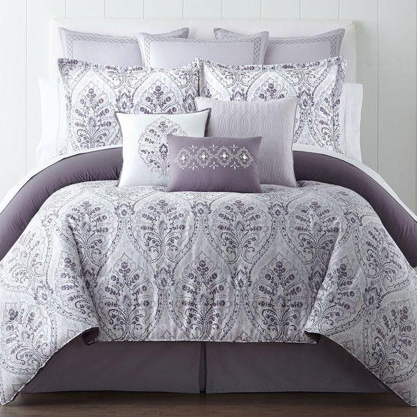 Eva Longoria Home Solana 4-pc. Comforter Set (225 CAD) ❤ liked on Polyvore featuring home, bed & bath, bedding, comforters, grey comforter, grey king size comforter, king comforter, gray comforter and grey queen comforter set