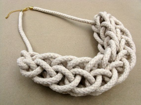 Knitted Rope Necklace by HearsayDesigns