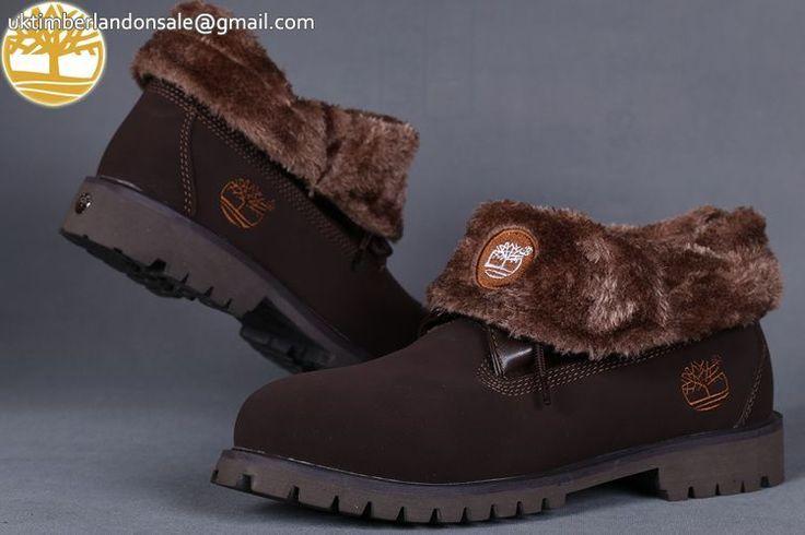 Custom Dark Brown Roll Top Timberland Mens Boots Online $95.99