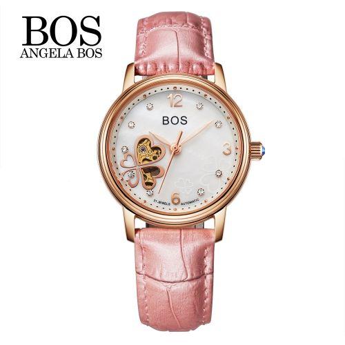 Angela Bos Delicate Женские автоматические механические наручные часы 3ATM водостойкой Аналог Леди автоподзаводом часы Скелет