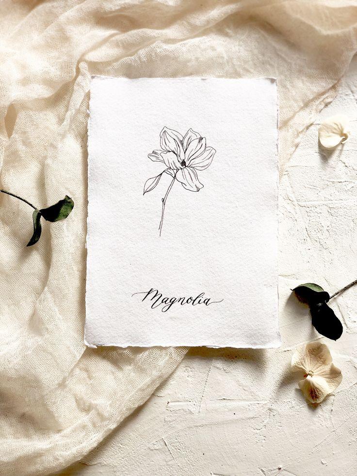 Botanical illustration art print. Modern florals. The Magnolia- flower of dignity