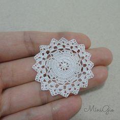 Miniature crochet round doily 1.5 inches dollhouse by MiniGio