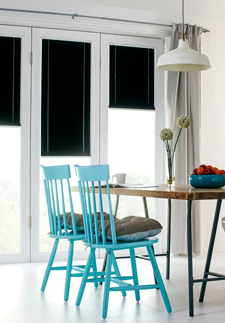 Black Intu Micro blinds in the dining room.