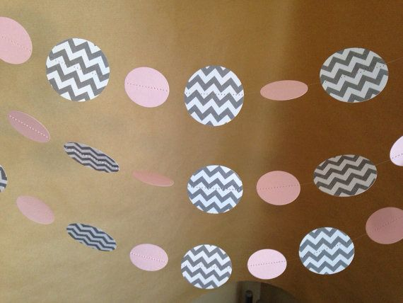 Baby pink and gray chevron paper garland birthday party decor baby shower decor nursery - Baby shower chevron decorations ...