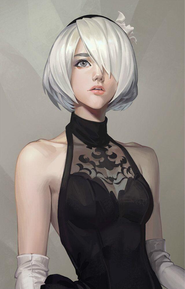 sketch 23, Li Didivi on ArtStation at https://www.artstation.com/artwork/qnmAL - More at https://pinterest.com/supergirlsart #nier #automata #2b #sexy #beauty #fanart