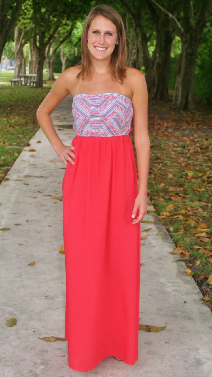 Coral Aztec Long Dress