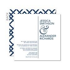 Ampersand Aesthetic Blue Wedding Invitations