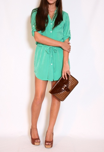 Shirt Dress with Tie More Colors AvailableShirts Dresses Lov, Teal Shirts, Colors, Turquoise Shirts, Adorable Shirts, Simple Shirts, Bit Shorts, Silk Shirts, Green Silk