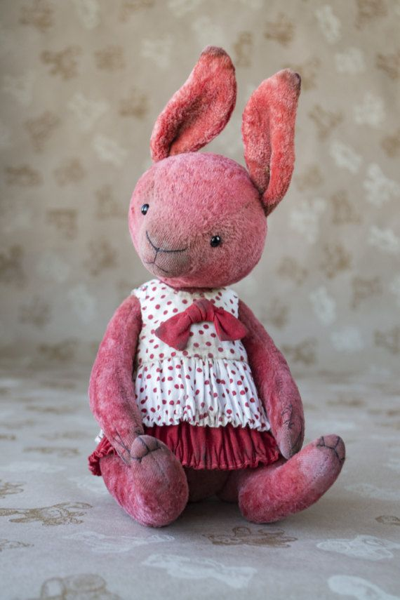 OOAK artist teddy rabbit collectible rabbit plush teddy