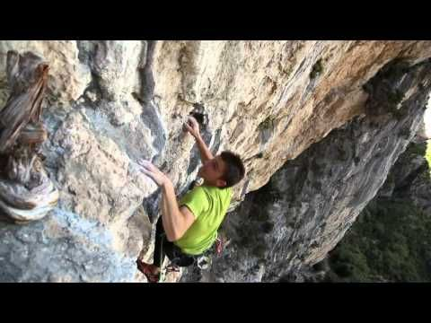 """Mathieu Bouyoud climbing the """"Ali baba"""" famous climbing route at Aiglun, Southern France with the new Millet Yalla climbing shoes."""