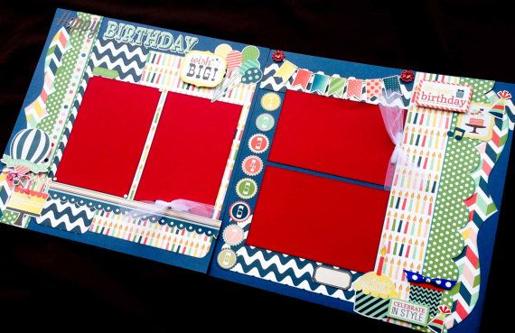 12x12 Scrapbook Page Happy Birthday Themed Kit Plus 4 Birthday – Pre Made Birthday Cards