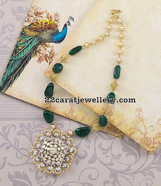 Emerald Drops Set with Pachi Pendant - Jewellery Designs