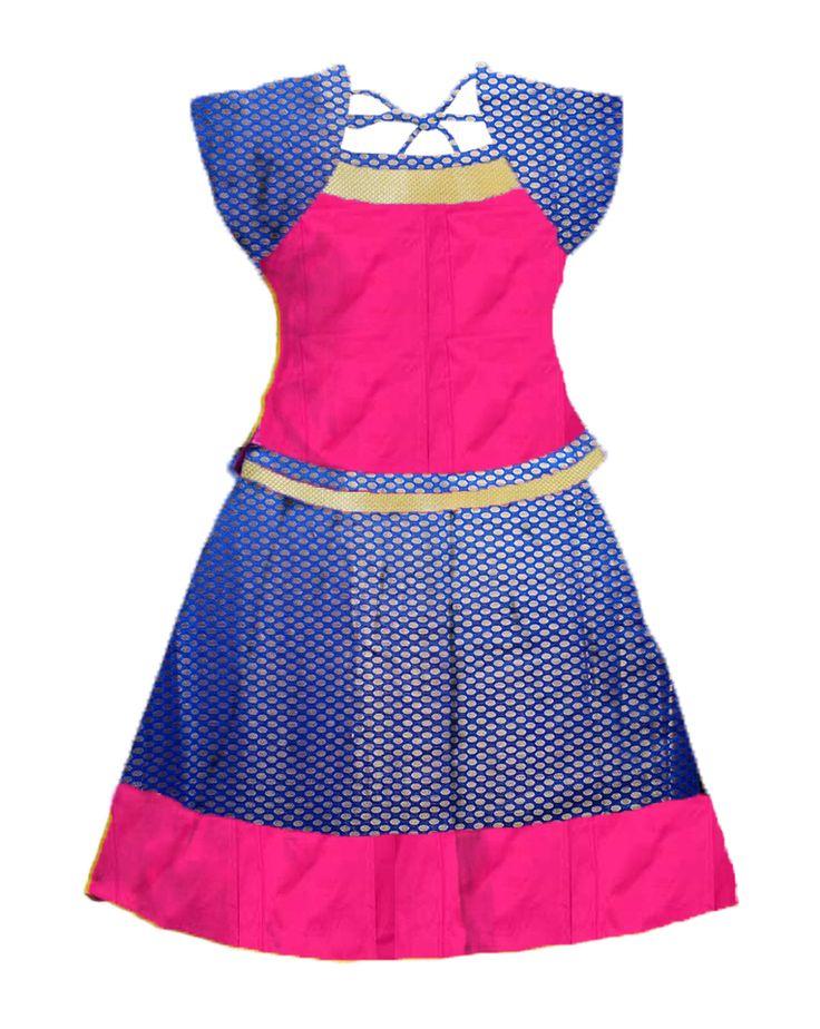 #readymadePattupavadai #kidspattupavadai Pink with violet Pattu pavadai
